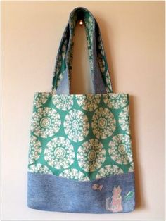 Cat and Fish Denim Tote Bag by StevieLynnJewelry for $40.00