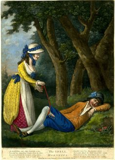 A young woman ties her garter to that of a young man asleep beneath a tree; an illustration to the pastoral by Gay.  1783/4 Hand-coloured mezzotint