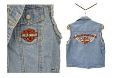 Harley Davidson denim vest embroidery motorcycle by IndieClothCo