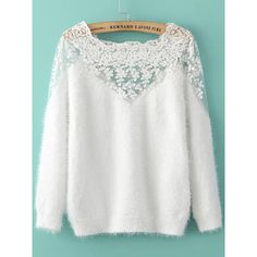 White Lace Insert Boat Neck Mohair Sweater ($33) ❤ liked on Polyvore featuring tops, sweaters, long sleeve sweater, floral print sweater, pullover sweater, white long sleeve sweater and patterned sweater