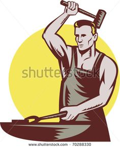 vector illustration of a male worker or blacksmith striking hammer and anvil with sunburst in background done in retro style - stock vector #blacksmith #woodcut #illustration