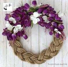 Braided Rope Spring Wreath   Hometalk Wreaths For Front Door, Mesh Wreaths, Holiday Wreaths, Diy Wreath, Front Porch, Wreath Making, Spring Wreaths, Wreath Crafts, Wreath Ideas