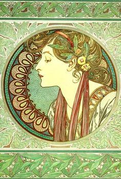 Art Nouveau Mucha Cuadro De Punto De Cruz también disponible como A4 brillante de impresión