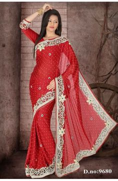 Red Faux Satin Chiffon Saree with Blouse-D.no.9680  Now, place your Order now : Email:- raksha@silk-india.com