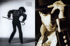 Left: Master of the moves: Prince in action at Paisley Park, his music and style center. Right: Gearing up gangster-style, Prince shows off the chalk-striped suit and custom-made fedora he wore in his Gett Off video. Editor: André Leon Talley
