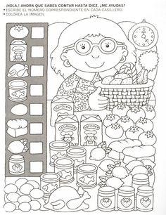 123 Manía: actividades de matemática para imprimir, resolver y colorear - Betiana 1 - Веб-альбомы Picasa Más Educational Activities, Learning Activities, Kids Learning, Kindergarten Worksheets, Worksheets For Kids, Teaching Math, Preschool Activities, Hidden Pictures, Math For Kids