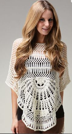 Creme Crochet Tunic - no pattern but good for ideas (some hairpin crochet??)