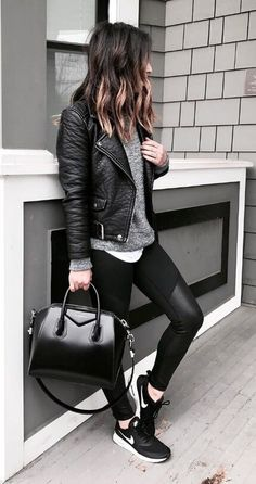 Those leather-trimmed gym leggings make the perfect edgy add-on to a leather moto jacket and Nike trainers. #winteroutfits #winterfashion #leggings #sneaker
