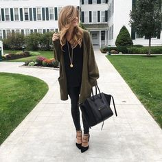 brighton the day styling leather leggings and oversized cardigan at The Equinox in Manchester, VT