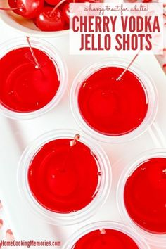 For adults only! This Cherry Vodka Jello Shot Recipe will give you bright red jello shots, made with a sweet maraschino cherry and lots of cherry flavor! Perfect for your Valentine\\\'s Day party, 4th of July, birthday parties, or any occasion where this boozy treat for adults will be appreciated.