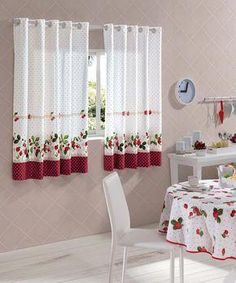 How to Choose Kitchen Curtains- Como Escolher Cortinas para a Cozinha Cod. Sheet Curtains, Bed Curtains, Modern Curtains, Window Drapes, Colorful Curtains, Curtains With Blinds, Kitchens And Bedrooms, Curtain Designs, Kitchen Curtains