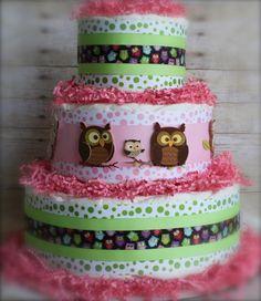 Whooo's That Baby Girl Cake by paddingforthepea on Etsy, $65.00