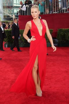 SEPTEMBER 2009 - blake lively at the Emmy Awards in a red Versace gown.