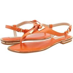 Michael Kors Hara ($295) ❤ liked on Polyvore featuring shoes, sandals, flats, orange smooth calf, ankle strap sandals, orange sandals, flat shoes, ankle wrap flats and toe thongs