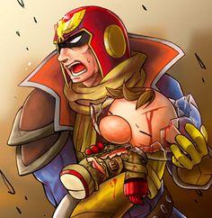 Captain Falcon and injured Olimar - Super Smash Bros