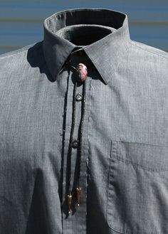 Steampunk Rhodonite Bolo Tie with Vintage Leather by OLearStudios, $42.00