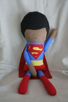 Stuffed Doll, Rag Doll, African American Superman, Superhero, Fabric Doll, Handmade Doll, Cloth Doll, Boy Doll, Soft Doll, Plush Doll. $92.00, via Etsy.