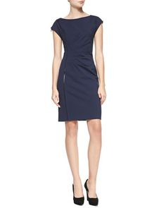 Landi+Cap-Sleeve+Dress+with+Faux+Leather+Detail+by+Elie+Tahari+at+Bergdorf+Goodman.