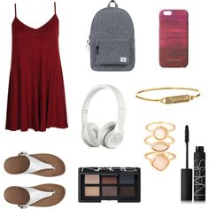 Red by hellofashion22 on Polyvore featuring polyvore, fashion, style, Boohoo, FitFlop, Herschel Supply Co., Rebecca Minkoff, Monsoon, Jigsaw and NARS Cosmetics
