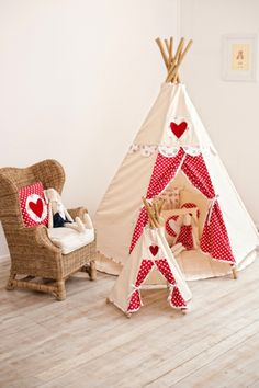 Cute teepee from Kids room - white and res colors with polka dots and a heart. Adorable play tent for playroom / bedroom / nursery. Play Teepee, Teepee Kids, Teepee Tent, Girls Teepee, Kids Tents, Little Girl Rooms, Room Colors, Kids Playing, Baby Room