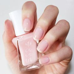 the new essie gel couture in 'sheer fantasy' for a beautifully natural and clean mani.