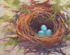 Robin's Nest with Eggs Original Pastel by KarenMargulisFineArt, $165.00