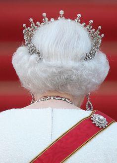 A rare rear view of Queen Elizabeth wearing the Girls tiara