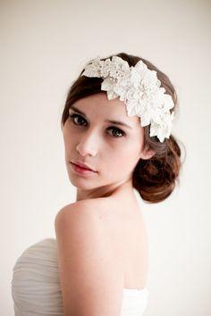 Lace Rhinestone Headband with Leaves Bridal by MelindaRoseDesign (via etsy)