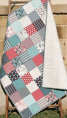 Nautical Baby Quilt, Boathouse Moda Sweetwater, Anchors, Crib Nursery Bedding, Teal Blue Navy Red White Grey, Patchwork Blanket, Reversible SunnysideDesigns2