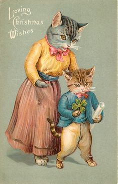 LOVING CHRISTMAS WISHES mother cat stands behind kitten who is holding shamrock & a scroll