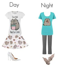 """Day and Night pusheen cat outfit"" by grumpy-cat-lover ❤ liked on Polyvore featuring Gund, Cosabella and Gianvito Rossi"