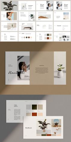 KALINA is a minimal brand guidelines Powerpoint template. Create the layout of m… – shedstudio Indesign Presentation, Brand Presentation, Presentation Layout, Presentation Templates, Power Point Presentation, Presentation Magazine, Presentation Slides, Portfolio Design Layouts, Book Design Layout