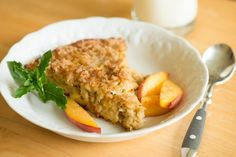 Peach Swirl Baked Oatmeal--Make this delicious, prep-ahead breakfast while peaches are still in season...and then use frozen!   by The Fountain Avenue Kitchen