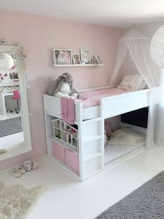 Bed for girls room - KURA bed kurabed kurahack kidsbed kidsroom pink white kidsbed kidsroom kurabed kurahack white Genel Bed For Girls Room, Big Girl Rooms, Kids Rooms, Toddler Beds For Girls, Little Girl Beds, Child Room, Boy Rooms, Bedroom Storage For Small Rooms, Ikea Bedroom