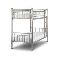 Julian Bowen Atlas Kids Metal Bunk Bed Finish: Metal with aluminium finish, wooden ladder rungs and tube caps Sizes: Single bed frame: W97.5cm x D201cm x H167.5cm Optional mattresses: W91.5cm x D190cm x H18cm http://www.comparestoreprices.co.uk/bunk-beds/julian-bowen-atlas-kids-metal-bunk-bed.asp