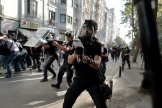 Riot police fire tear gas and rubber bullets at protesters in Taksim square, the epicenter of nearly two weeks of anti-government demos, on June 11, 2013