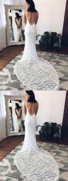 weddingdress open back Mermaid Deep V Neck Sleeveless Open Back Wedding Dresses Bride Gowns Fancy Wedding Dresses, Open Back Wedding Dress, Lace Wedding Dress With Sleeves, V Neck Wedding Dress, Affordable Wedding Dresses, Bridal Dresses, Dress Lace, Prom Dresses, Inexpensive Bridesmaid Dresses