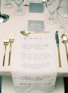 Modern calligraphy for a place card and menu.