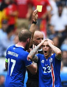 #EURO2016 Ari Skulason of Iceland shows his feelings as he is shown a yellow card during the UEFA EURO 2016 Group F match between Iceland and Austria at Stade...