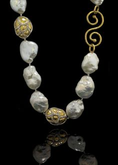 GURHAN Gossamer necklace with freshwater pearl and diamonds.