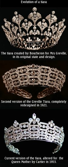 The Greville Tiara (also called Boucheron or Honeycomb Tiara).  At her death Dame Margaret Greville left some of her jewels to Queen Elizabeth, the Queen Mother. The jewels remained in their boxes for several years as the King was unsure about accepting gifts from subjects. The Queen finally wore Mrs Greville's tiara for the first time in 1947. Later, it was altered by Cartier with the strict geometric line being broken up by the addition of diamonds on the top.