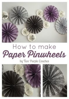 Easy step-by-step instructions on how to make paper pinwheels using scrapbooking paper and book pages. Perfect party decor and great for holiday decorating!