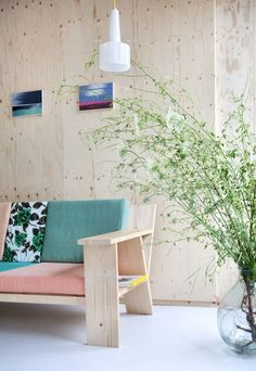 Messy Banana / Lounge in Color / Contemporary Plywood Furniture Design with colorful cushions is a perfect match Plywood Furniture, Plywood Walls, Bedroom Furniture, Diy Furniture, Furniture Design, Furniture Logo, Farmhouse Furniture, Repurposed Furniture, Rustic Furniture