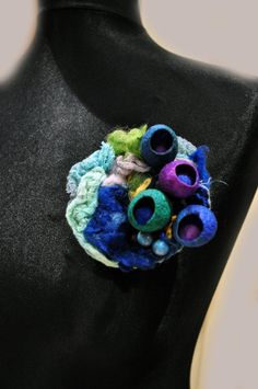 Brooch brooch flower green purple blue by AleksandrabWiniarska
