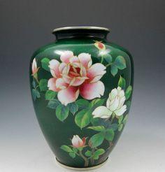 Japanese cloisonné vase Ginbari Silver foil 6 inch.