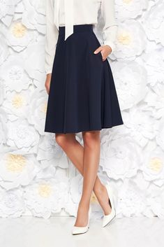 StarShinerS darkblue elegant cloche skirt high waisted slightly elastic fabric, with pockets, flaring cut, without clothing, back zipper fastening, high waisted