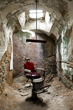 A barber shop in cell block 10 is shown at Eastern State Penitentiary in Philadelphia