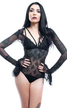 WIDOW | LACE & MESH BODYSUIT WITH BELL SLEEVES | Fetish