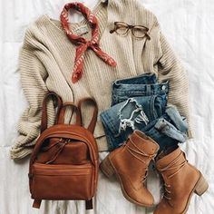 The prettiest color palette.😍Love this oatmeal sweater (so flattering!) with cognac kicks + my new backpack (so good for travel🎒🙌🏽linked to… Mode Outfits, Trendy Outfits, Fashion Outfits, Womens Fashion, Fashion Trends, Fashion Fashion, Fashion Clothes, Fashion Shoes, Fashion Ideas
