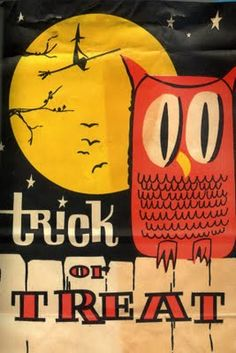 This vintage Halloween graphic features a wonderfully stylized (and cute) owl in the foreground and a simple & skinny witch in the moonlight.